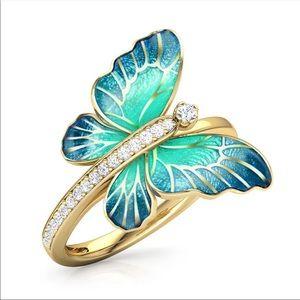 New Women's Beautiful Butterflies Sapphire Ring